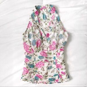 White floral halter blouse